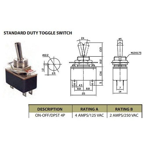 dpst toggle switch 4a (c)