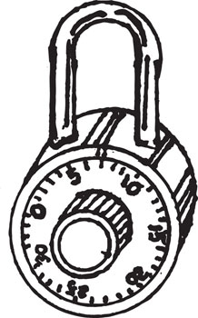 COMBINATION LOCK WITH COLORED DIAL