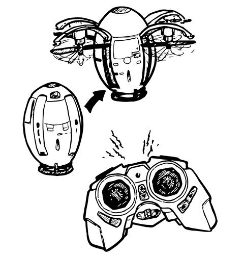 EGG-SHAPED QUAD-ROTOR DRONE