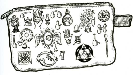 MYSTICAL-SYMBOL THEMED ZIPPERED COTTON POUCH