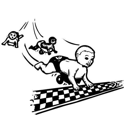 PULL BACK RACING BABIES 4-PACK