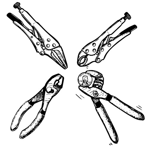 LOCKING PLIERS SET BLUNT AND NEEDLE NOSE
